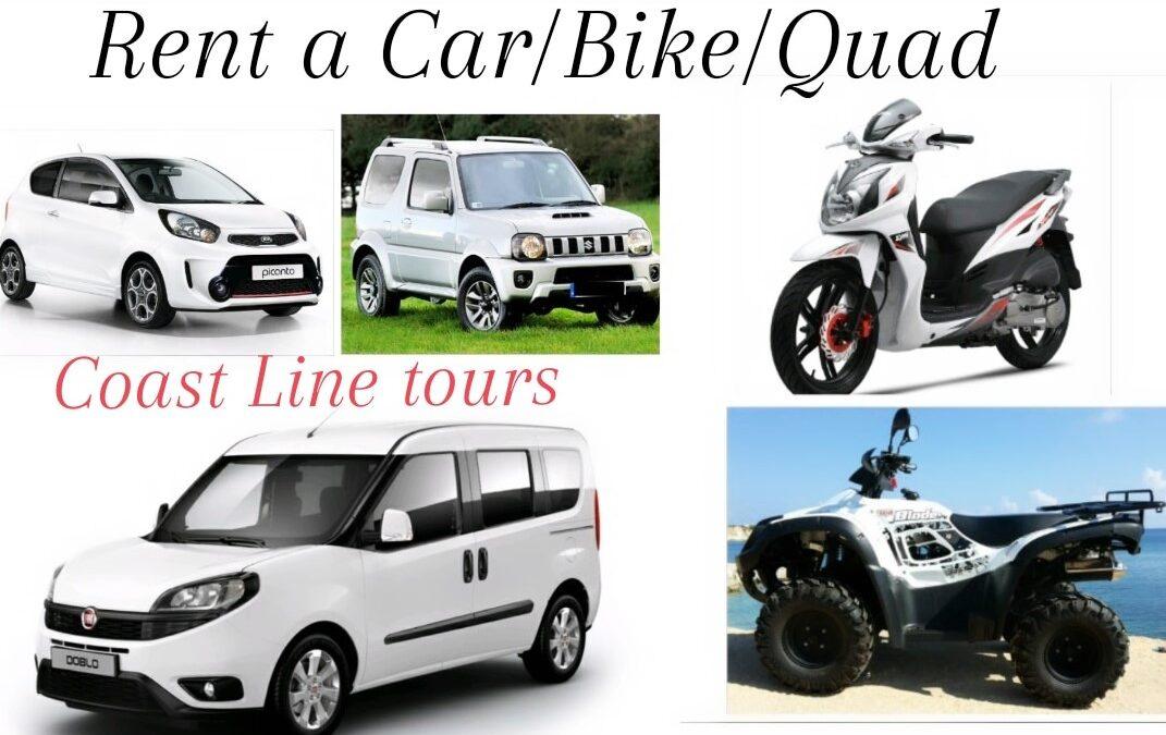 Rent a Car and Bike Coast Line tours