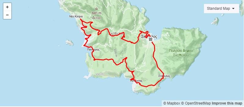 3η Ποδηλατική Διαδρομή Σκόπελος - Νέο Κλήμα - Δελφή χαρτης
