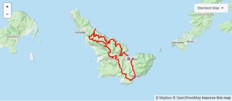 4η Ποδηλατική Διαδρομή Σκόπελος - Άγιος Ιωάννης στο Καστρί (ΜΤΒ - GRAVEL)_Map