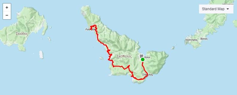 Route_1_Map_ Ποδηλατικές Διαδρομές Σκόπελος